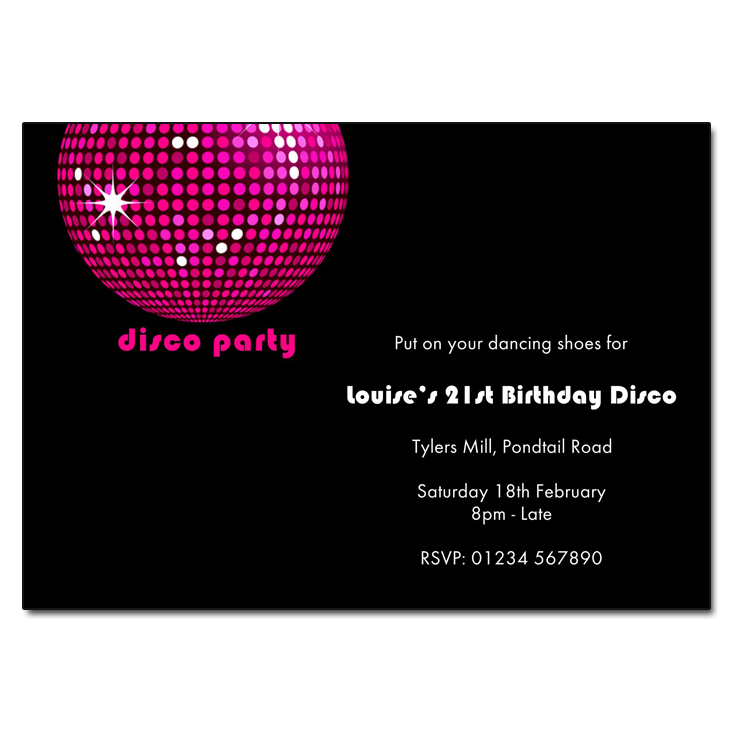 Pink Disco Ball - Disco Party Invitations