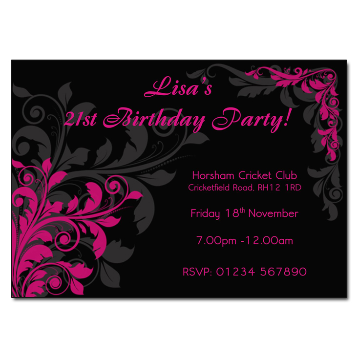 Pink and black floral party invitations