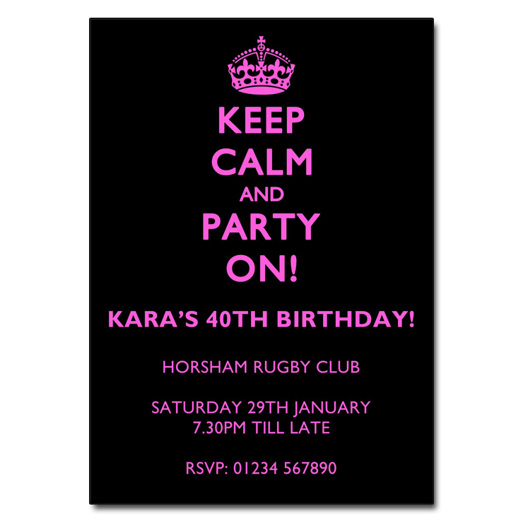 Pink on Black - Keep Calm & Party On Invitations