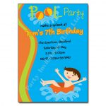 Pool Party Boy - childrens activity party invitations