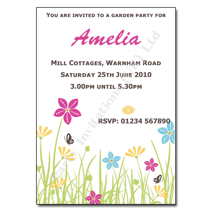 Pretty Garden Party Invitation With pinkblue flowers butterflies