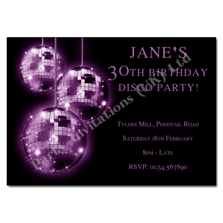 Purple Mirror Balls - Disco Party Invitations