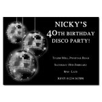 Silver Mirror balls - Disco Party Invitations