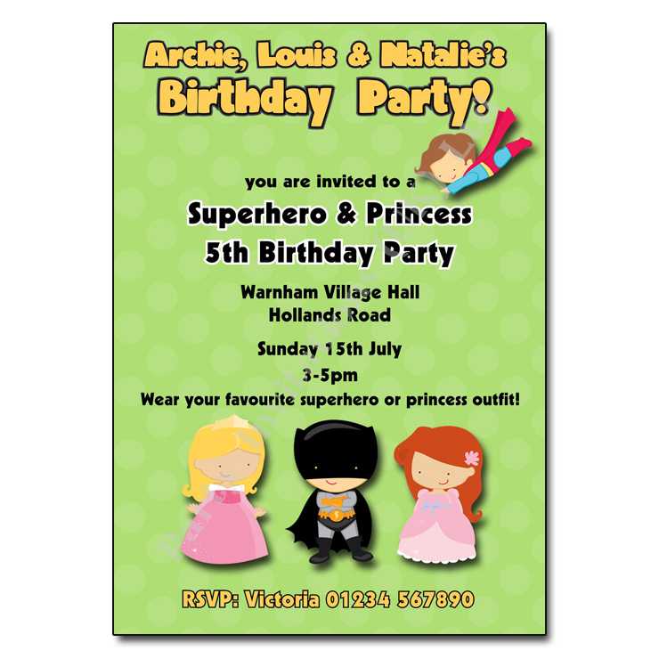 Superhero Princess Party Invitation | Joint Party Invitation