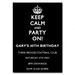 White on Black - Keep Calm & Party On Invitations