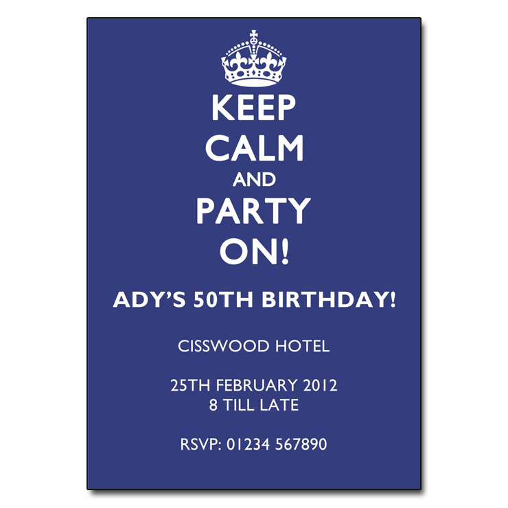 White on Blue - Keep Calm & Party On Invitations