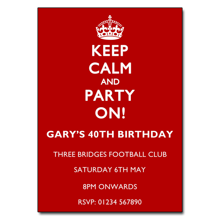 White on Red - Keep Calm & Party On Invitations
