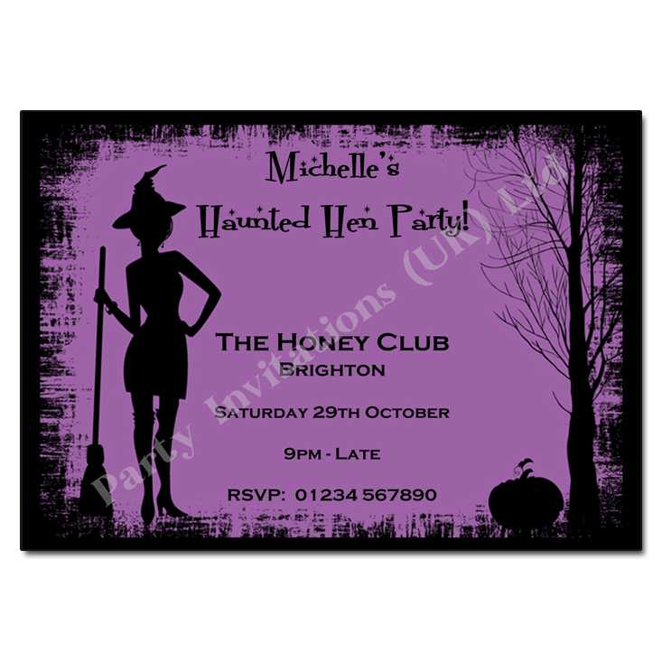 Witches Silhouette Halloween Party Invitation