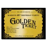golden ticket party invitations