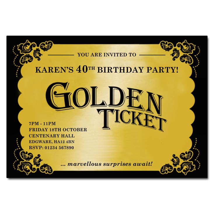 Golden Ticket Invitation  Party Invitation