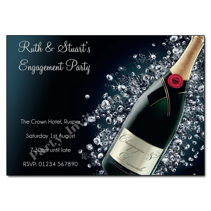 Champagne diamonds engagement invitation