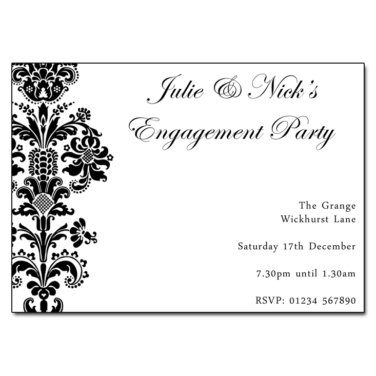 black  u0026 white damask engagement invitation