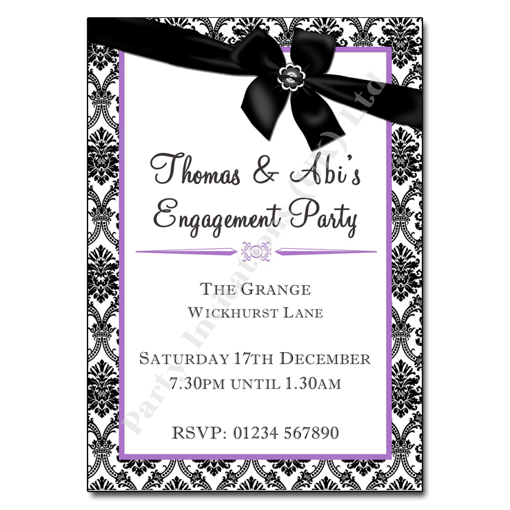 Damask Ribbon Engagement Party Invitation