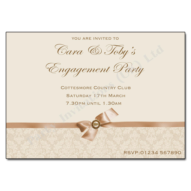 Ivory damask engagement party invitation