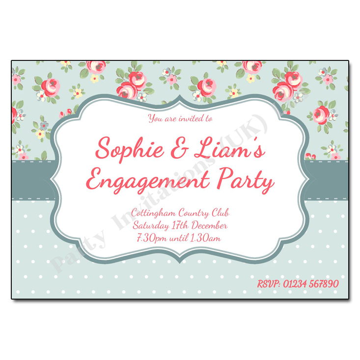 Victorian Chintz engagement party invitation