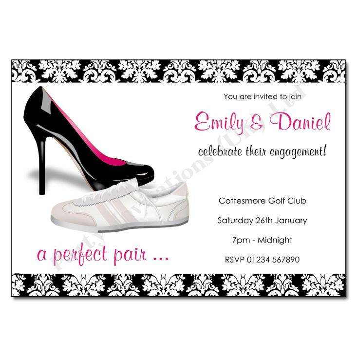 A perfect pair engagement party invitation
