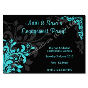 Black Turquoise Floral engagement party invitation