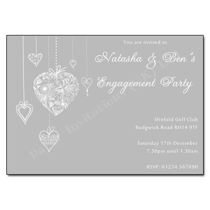 Filigree hearts engagement party invitation