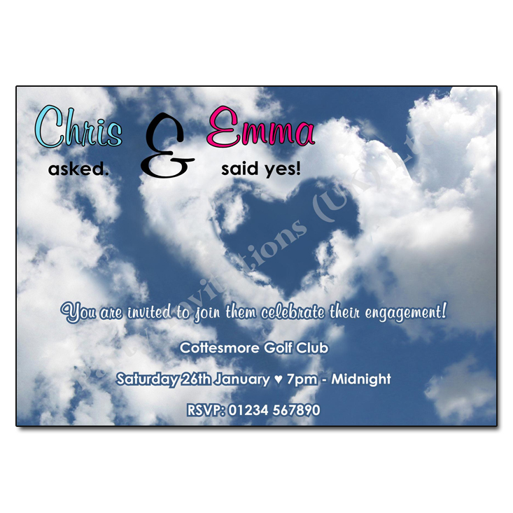 Heart cloud engagement party invitation