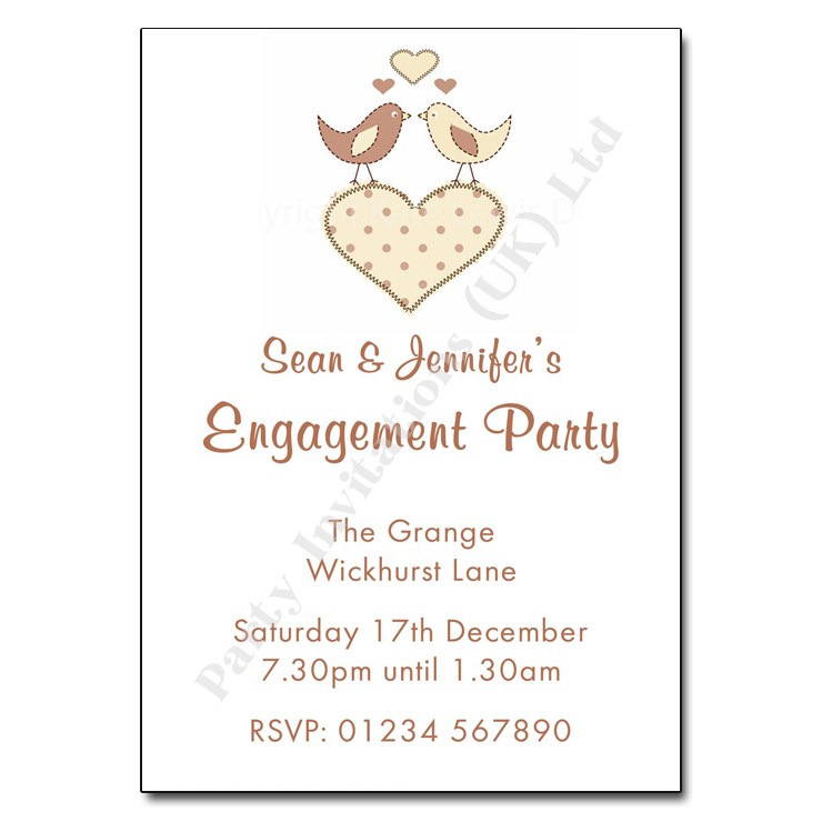 Love Birds Engagement Party Invitation | Personalised Invitations