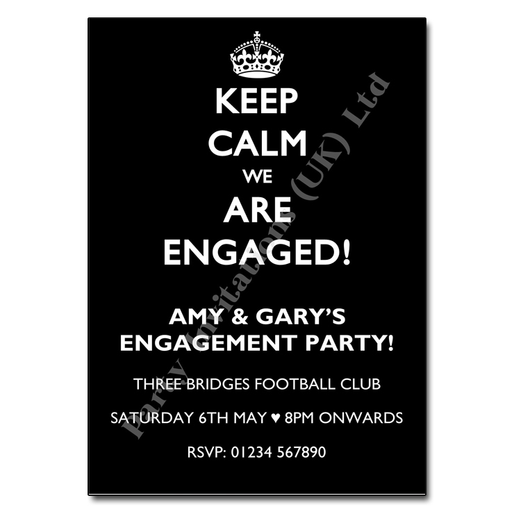 Keep Calm engagement party invitation