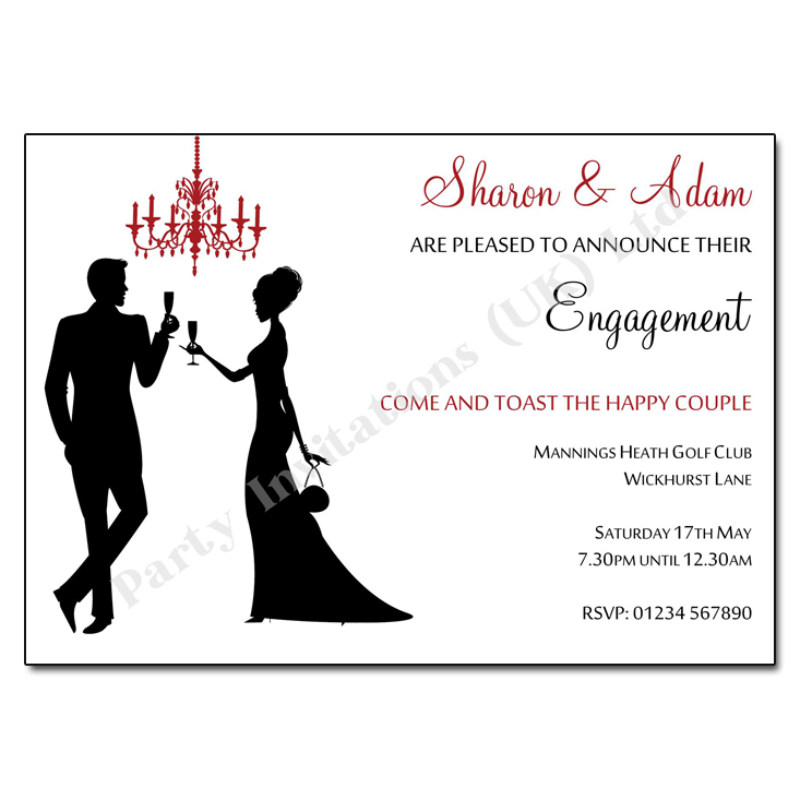 Silhouettes and chandelier engagement party invite