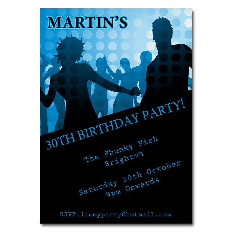 Blue Funky Party invitations