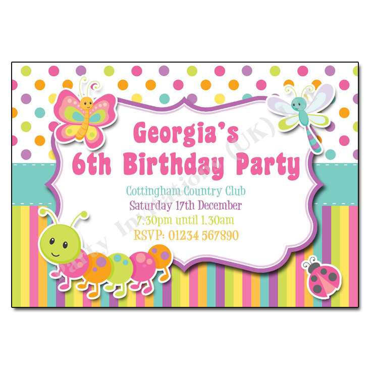 Bugs and Butterfly Childrens Party Invitation