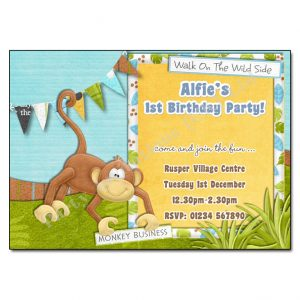 Monkey Childrens Party Invitation