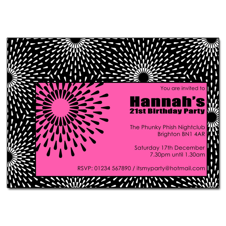 Pink Black & White Party Invitations
