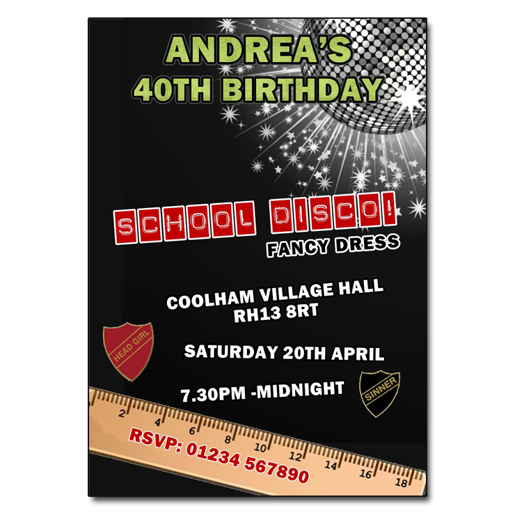 School Disco Party Invitations