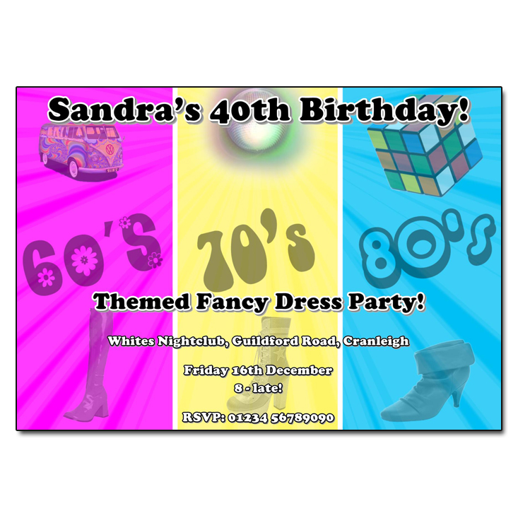 Through the decades Party Invitations