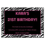 Zebra Pink Party Invitations