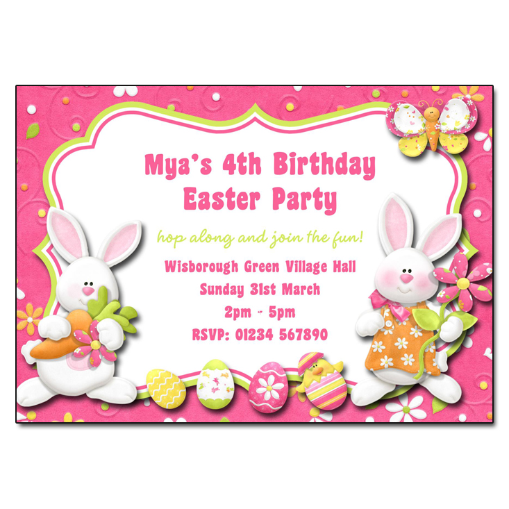 Easter Bunnies Party Invitation
