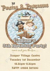 Pirate and princess party invitation