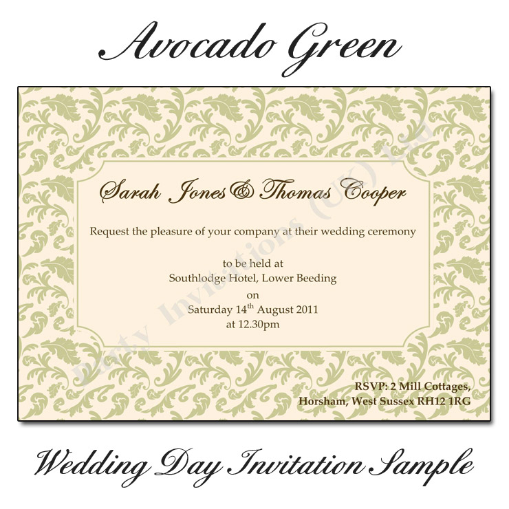 Avocado Green & Pink Damask Wedding Day Invitations