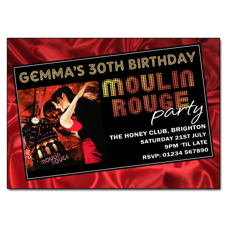 Moulin Rouge Themed Party Invitations