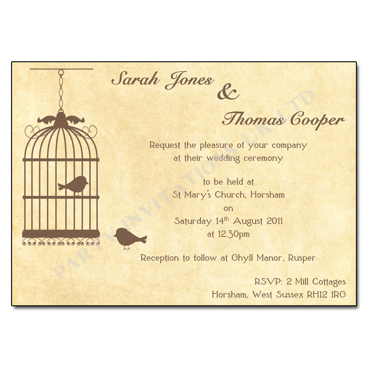 Vintage birdcage wedding invitations buy now with free uk delivery vintage birdcage wedding invitations stopboris Image collections