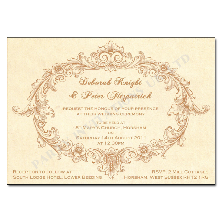 Vintage Flourish Wedding Day Invitation