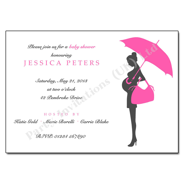 Pregnant Bump Silhouette Baby Shower Invite Pink Green or Blue