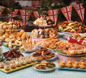 traditional british food party drink garden spread display celebration finale grand would firework course