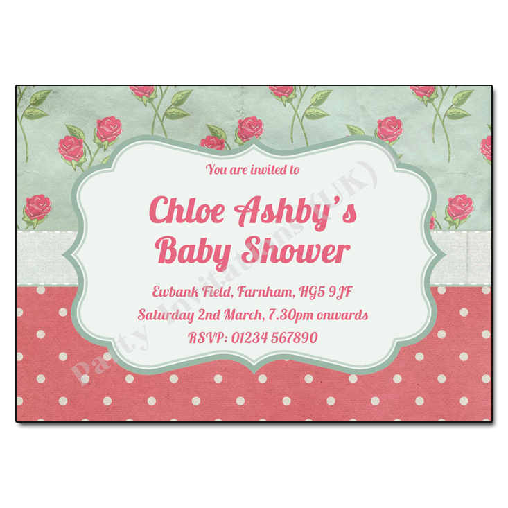 Vintage Chintz Baby Shower Invitation