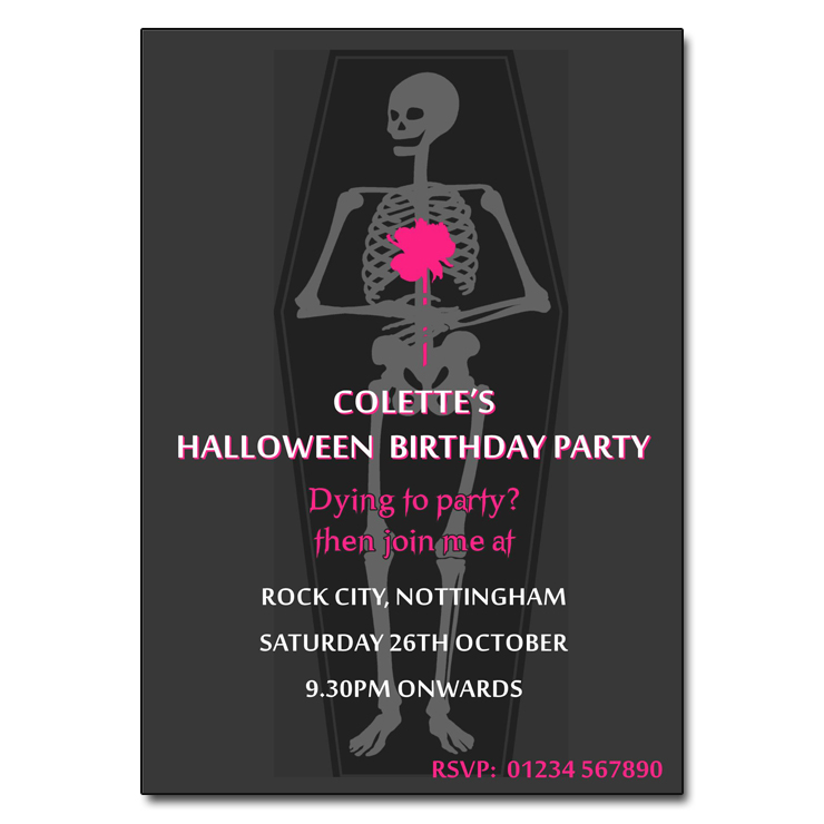 Creepy Coffin Halloween Party Invitations