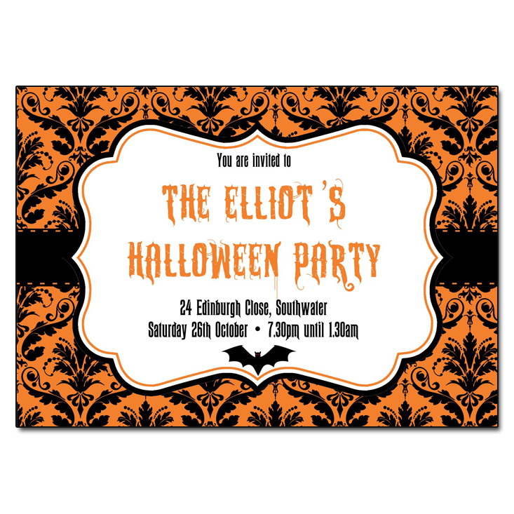 Halloween Damask Party Invitations