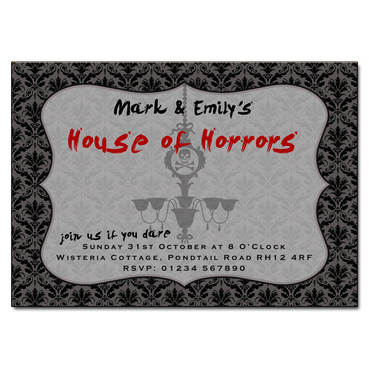 Spooky Chandelier Halloween Party Invitations