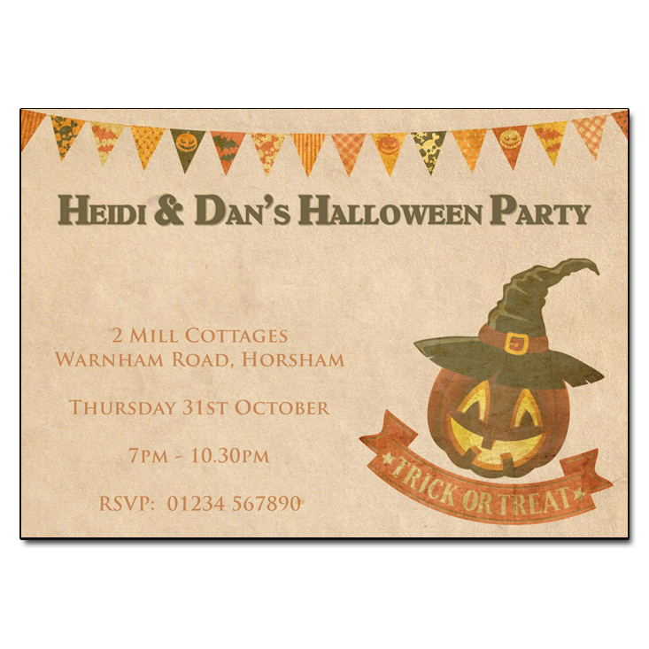 Vintage Pumpkin Halloween Party Invitations