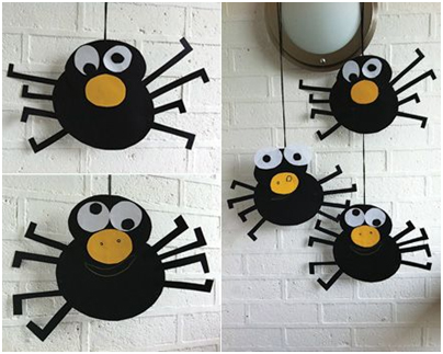 Home made cut and craft halloween spiders