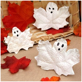 Seasonal spooks - halloween ghosts made from autumn leaves