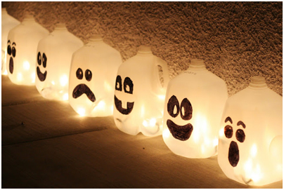 Home-made ghostly lights for halloween