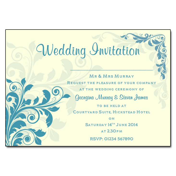 Cream & Teal Floral Wedding Invitations